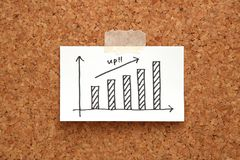 Handwriting wzrostowy wykres rysujący na papierze na korek desce zdjęcia stock
