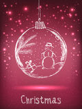 Handwriting Xmas ball with snowman for Merry Christmas celebration on purple background with light, stars. Stock Images