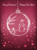 Handwriting Xmas ball with snowman for Merry Christmas celebration on purple background with light, stars. Vector eps Stock Image