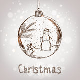 Handwriting Xmas ball with snowman for Merry Christmas celebration on silver background with snowflakes. Vector eps. Illustration Stock Images