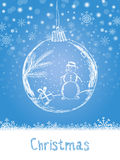 Handwriting Xmas card with ball and snowman for Merry Christmas celebration on blue snow background with snowflakes. Vector eps. Illustration Stock Photography