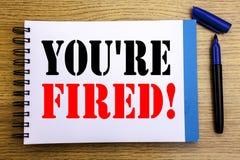 Handwriting zawiadomienia tekst pokazuje Ciebie Podpala Biznesowy pojęcie dla bezrobotni lub rozładowanie Pisać na notepad nutowe zdjęcie stock