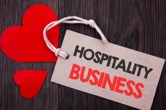 Handwriting zawiadomienia tekst pokazuje gościnność biznes Biznesowy pojęcie dla przemysł Biznesowej turystyki reklama pisać o fotografia royalty free