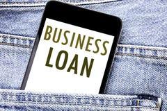 Handwriting zawiadomienia teksta seansu Biznesowa pożyczka Biznesowy pojęcie dla Pożyczać finanse telefonu kredyt Pisać telefon k zdjęcia royalty free
