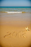 Handwritten 2012 Message Clean Sand Stock Images