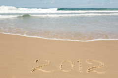 Handwritten 2012 Message Clean Sand Royalty Free Stock Images