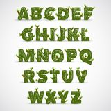 Handwritten ABC alphabet with leaf Royalty Free Stock Photography
