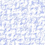 Handwritten abstract text. Seamless pattern. Vector illustration for fabric texture. Handwritten abstract text . Seamless pattern written with a blue pen. Vector Royalty Free Stock Images