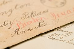 Handwritten address on envelope Stock Image