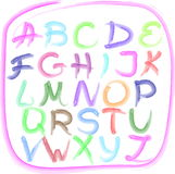 Handwritten alphabet. In the style of watercolorl, isolated Stock Photography