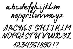 Handwritten alphabet. brush lettering, vector  Stock Images