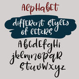 Handwritten alphabet. Different style of letters. Brush style abc. Vector Royalty Free Stock Photography