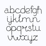 Alphabet, hand print, letters, numbers, symbols written with pen. Handwritten alphabet print, lower case letters for your lettering, print, design royalty free illustration