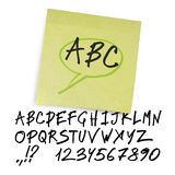 Handwritten alphabet (uppercase letters with numbe Stock Photos