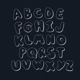 Handwritten Alphabet. Handwritten White Cartoon Monochrome Alphabet Royalty Free Stock Photography