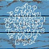 Handwritten alphabet wood set Royalty Free Stock Photo