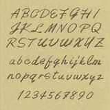Handwritten alphabets. On cardboard - uppercase and lowercase letters Stock Image