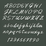 Handwritten alphabets. On chalkboard - uppercase and lowercase letters Royalty Free Stock Photo