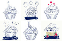 Handwritten birthday calligraphy. Stock Photo