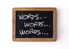 Handwritten on a blackboard: words Royalty Free Stock Photography