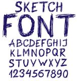 Handwritten blue sketch alphabet Stock Image