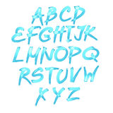 Handwritten blue watercolor alphabet with numbers symbols. Vector Royalty Free Stock Photography