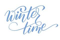 Brush calligraphy Winter time. Handwritten brush calligraphy Winter time isolated on white. Vector illustration stock illustration