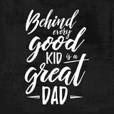 Handwritten  brush chalk lettering card for dad. Chalkboard quote for fathers day. Happy Father`s Day t-shirt design element Stock Photography
