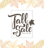 Handwritten brush lettering composition of Fall Sale on foliage background. Vector illustration: Handwritten brush lettering composition of Fall Sale on foliage Stock Image