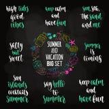Modern calligraphy style summer vacation phrase big set. stock illustration