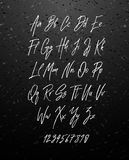 Handwritten brush style modern cursive font  on chalkboard background. Textured handletterered latin font letters and numbers Vector illustration stock vector Stock Photography