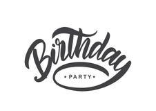 Handwritten brush type lettering of Birthday Party on white background. Typography design. Greeting card. Vector illustration: Handwritten brush type lettering Stock Photography