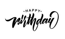 Handwritten brush type lettering of Happy Birthday isolated on white background. Typography design. Greeting card. Vector illustration: Handwritten brush type Stock Photo
