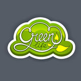Green life. Handwritten Calligraphic Lettering Green Life Stock Image