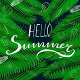 Handwritten calligraphic lettering hello summer Royalty Free Stock Photography