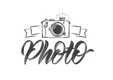 Handwritten calligraphic lettering of Photo with hand drawn camera. Vector illustration: Handwritten calligraphic lettering of Photo with hand drawn camera Royalty Free Stock Photography