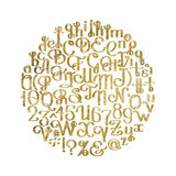 Handwritten calligraphic script. Ornate graphic alphabet. Vector font. Uppercase and lowercase letters and numerals isolated on white background in golden Stock Image
