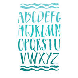 Handwritten calligraphy alphabet Blue color. Vector objects Royalty Free Stock Photography