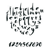 Handwritten calligraphy alphabet and numbers Stock Image
