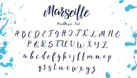 Handwritten calligraphy font. Vector alphabet. Hand drawn letters royalty free illustration