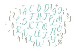 Handwritten calligraphy font. Vector alphabet. Hand drawn letters Royalty Free Stock Photos