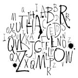 Handwritten calligraphy and lettering alphabet. Black and white Royalty Free Stock Images