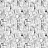 Handwritten calligraphy and lettering seamless pattern. Black an Royalty Free Stock Images