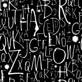 Handwritten calligraphy and lettering seamless pattern. Black an Stock Photos