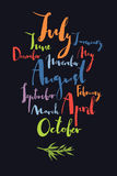 Handwritten calligraphy Months of year Black background Colorful Stock Photography