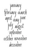 Handwritten calligraphy Months of year written with a brush Stock Photo