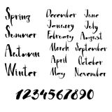 Handwritten calligraphy Seasons, months and numbers Royalty Free Stock Image