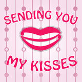 Handwritten card. Vector Sending kisses. Post card in pink, sending kisses with lips on the beautiful background with red circles Stock Photography