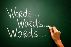 Handwritten with chalk on a blackboard - words... Royalty Free Stock Image