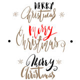 Handwritten Christmas gold and red calligraphy. Set of hand lettering for cards. Merry Christmas. Stock Photo